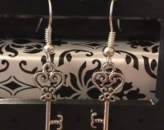 Small Heart Key Earrings