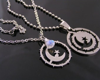 Matching Couple Necklaces with Crescent Moon, Boyfriend Girlfriend Jewelry, Couple Necklaces that fit together, Moonstone Necklaces, N1484