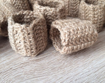 Crochet Napkin Rings- Set of 6, Rustic Jute Napkin Rings, Twine Napkin Rings, Rustic Natural Table Accessories, Table Wear, Eco Rustic Home