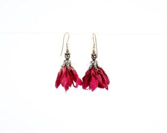 Petal Earrings in Deep Red