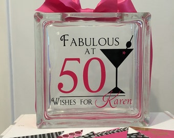 50th Birthday Wish Block - Wish Jar - Martini Themed - Fabulous at 50  - Unique Guest Book