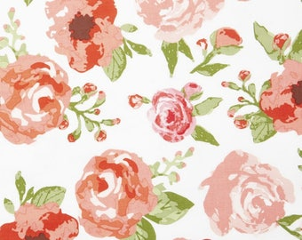 Fitted Crib Sheet - Floral Baby Bedding / Floral Crib Sheet / Mini Crib Sheets / Changing Pad Covers / Rose Baby Bedding /White Pink Nursery