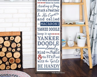Patriotic  wood sign, Yankee Doodle Dandy, Farmhouse Decor, Inspirational Signs, Distressed,Fourth of July, 4th, memorial day, seasonal