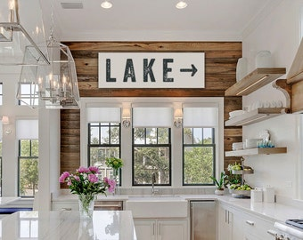 Good Lake Sign Arrow Large Canvas, Lake House Decor, Fixer Upper Decor, Joanna  Gaines