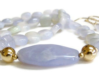 Blue Chalcedony Necklace and Earrings with 14K Gold Fill. Soft Periwinkle Blue Necklace Set. Elegant Summer or Wedding Jewelry. Gift For Her