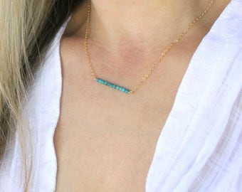 Beaded Necklace, Genuine Turquoise Necklace, Turquoise Jewelry, Silver or Gold Layering Necklace, Real Kingman Turquoise, The Silver Wren