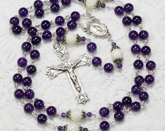 Purple Amethyst Mother of Pearl Catholic Women's Rosary with Bali Silver, Miraculous Center and Crucifix, Handmade Heirloom Rosaries