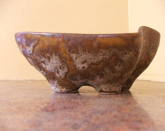 Vintage 1960s Pigeon Forge Pottery Free-Form Art Pottery Drip Glaze Planter