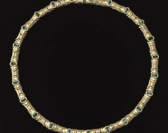 14k Gold Blue Topaz Necklace/14k Yellow Gold White Gold Topaz Necklace/ 14k Gold Choker Necklace/14k Topaz Necklace/14k Gold Necklace/ 7900.
