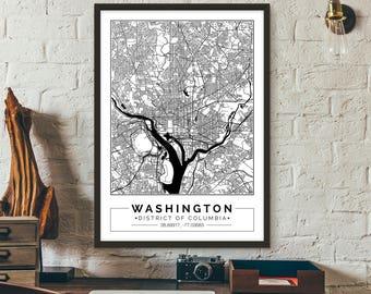 Washington, D.C., City map, Poster, Printable, Print, Street map, Wall art