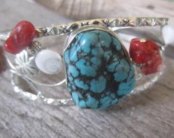 turquoise and coral bangle, beach bangle, silver bangle with stones, tropical bangle bracelet, island jewelry