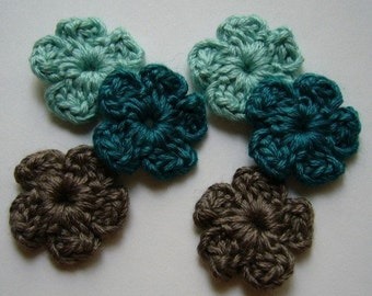 Crocheted Flowers - Blue-Greens and Taupe Forget Me Nots - Wool Flowers - Wool Flower Appliques - Wool Flower Embellishments - Set of 6