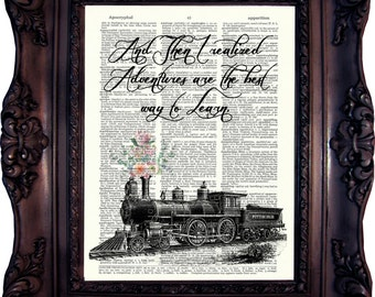 Travel Lover Gift Travel Quote Travel Print Travel Wall Art Travel Best Friend Gift Travel Girlfriend Gift Travel Sister Gift Train 768
