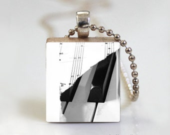 Music Sheet Piano Key - Scrabble Tile Pendant - Free Ball Chain Necklace or Key Ring