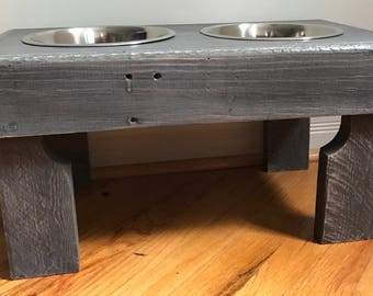 """reclaimed elevated pallet dog bowl stand pet feeding station with 2 brand new stainless steel bowls. 21"""" L X 11"""" W X 11"""" T classic gray"""