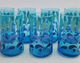 Retro Vintage 70s Drinking Tumblers/Glasses Blue Set of Seven (7)