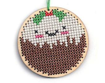 Kawaii Christmas Pudding Instant Download Cross Stitch Chart