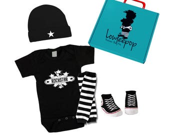 ROCKSTAR BABY KIT Vintage Rockstar Onesie, hat, Sneaker booties, leg warmers & optional gift box