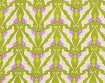 1 Yard Gorgeous HEATHER BAILEY Fabric Lottie Da - COLLECTION Papillon in Olive Butterflies