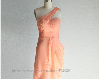 Dusty Coral Bridesmaid Dresses, Romantic Dress, Peach Dress, Fair, One shoulder Dress, Party Dress, Wedding Dress ( A015)