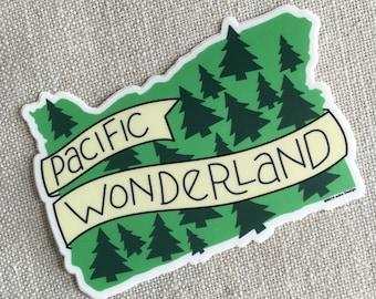 Pacific Wonderland Vinyl Sticker / Modern Illustrated Oregon State Sticker / Hand Lettering / Oregon Bumper Sticker / Cool Sticker