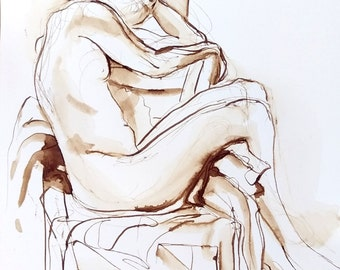 Original Figure Drawing, Relaxed Female Nude Legs Draped over Chair,  Relaxed Figure, Pen and Ink Wash, Fine Art Nude, Dessin de Nu