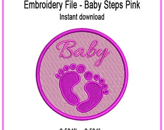 Baby Steps Pink Embroidery Design - Digital - Instant Download - Cap - Apparel - Personal - Commercial