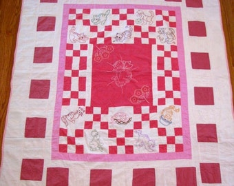 "Vintage Quilt Baby Quilt Hand Embroidered and Quilted  50"" x 61""   Pieced Pattern Back  White With Three Shades of Pink"