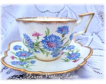 Salisbury Cornflower Bone China Tea Cup and Saucer Blue Vintage Tea Cup Made in England