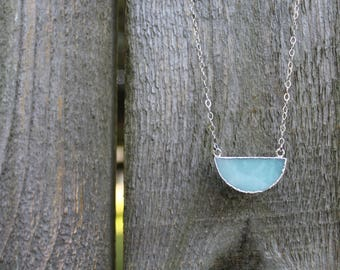 Amazonite necklace, semi circle sterling silver necklace, minimalist jewelry, half moon necklace