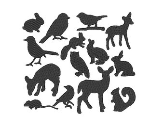 Embroidery Design Set Animal Silhouettes 4'x4' - DIGITAL DOWNLOAD PRODUCT