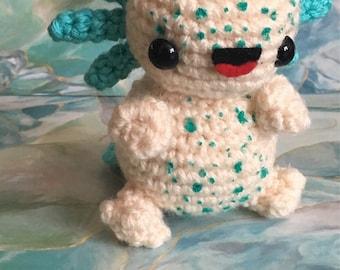 Minty the Axolotl - Ready to Ship - Kawaii - Amigurumi - Crochet - Doll - Toy