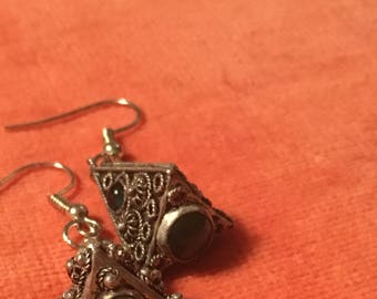 Silver & Gem Spiritual Drop Earring