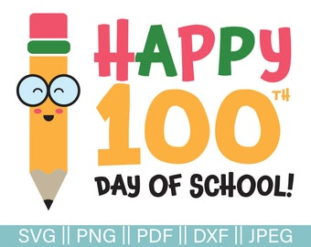 pencil 100 days etsy rh etsy com free 100th day of school clip art 100th day of school clipart black and white