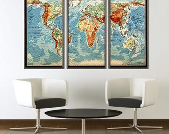 Beautiful World Map Vintage Atlas Mercator projection (3 pieces)
