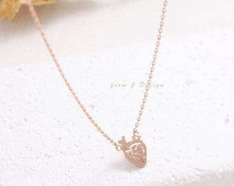 Small Anatomy Heart Pendant Necklace