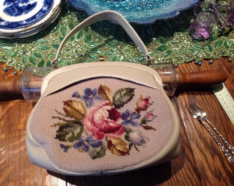 Vintage Needlepoint Purse Handbag Lovely