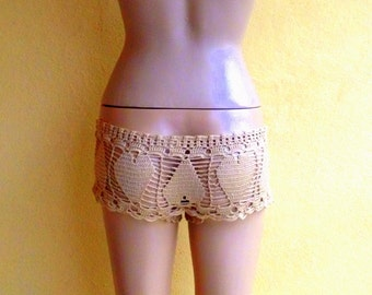 beige beach short heart women lace shorts heart crochet shorts swimwear girls fashion summer wear beachwear senoAccessory