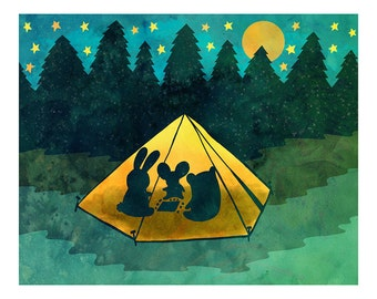 Summer Camping 8x10 or 5x7 Illustration Print
