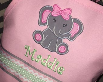 Elephant Apron, Personalized Embroidery, Apron with Name, Birthday Party Favor, Birthday Gift, Chef Apron, Mommy and Me Aprons