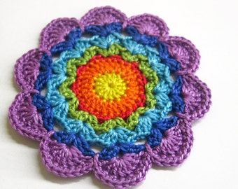 Handmade crocheted flower motif applique rainbow shades 3 inches wide
