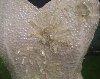 1940s Cream Sequin Evening Dress.