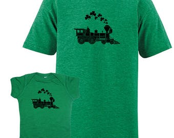Father Child Matching St. Patricks Day Matching Irish Shamrock Train Father Son Shirts Ireland T shirts for dad baby / dad son daughter