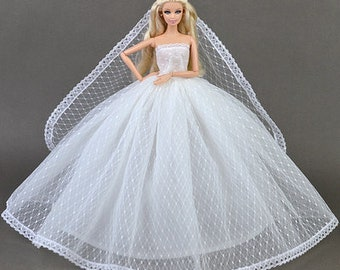 01#Bride in Long Veil Wedding Dress Set-Women Girl's Birthday Christmas Gift DIY Handmade Lace Barbie Doll Dress Princess Evening Party Gown