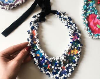 Embroidered jewelry, beaded necklace, elegant necklace, hand embroidery, boho necklace, blue statement necklace, boho embroidered necklace