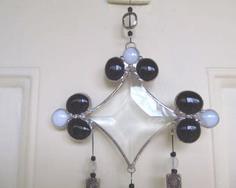 stained glass sun catcher, mini wind chime, beveled glass, black and white affair, clear glass gems, crystals, window ornament, glass prisms