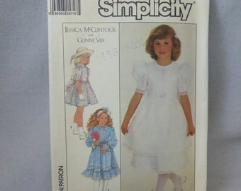 Vintage Simplicity Pattern 8711 Girl's Size 6 Jessica McClintock for Gunne Sax Dress