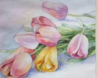 Watercolor Tulips original art by InterArtShop wedding gift  matted  artwork  bouquet flowers   40×40 cm.