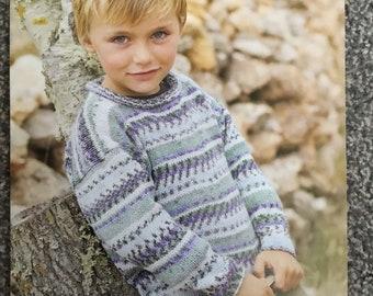 """Sirdar Crofter DK knitting pattern 2256 boys jumper 22""""-32"""" (E06)"""