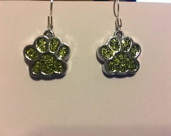 Gold glittery paw print  earrings   X19